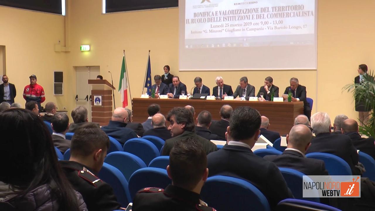 Bonifiche e valorizzazione del territorio, il ministro Costa e il presidente Cantone incontrano l'Odcec Napoli Nord. Video
