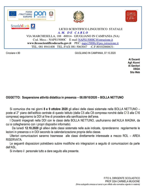 Covid: sospetto contagio al liceo De Carlo di Giugliano, aule chiuse per la sanificazione