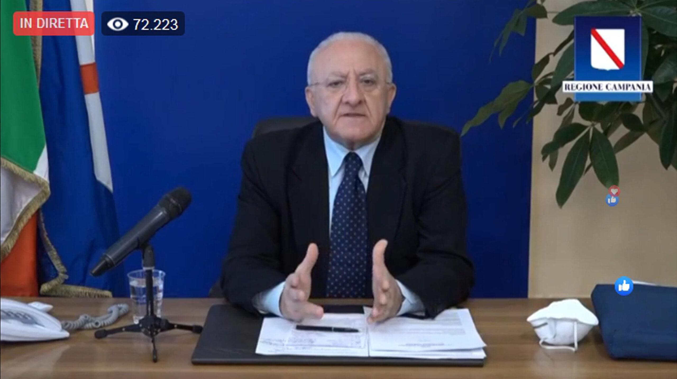 """Emergenza covid, in diretta il presidente della regione Campania De Luca: """"Ecco le zone rosse"""" +++SEGUI LA DIRETTA+++"""